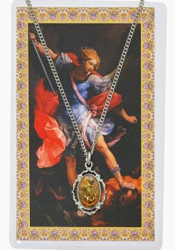 Saint Michael Pewter medal with 18-inch chain, Saint Michael Pewter medal with holy card