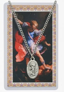 Saint Michael pewter medal with chain
