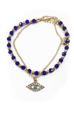 evil eye bracelet blue crystals and gold chain