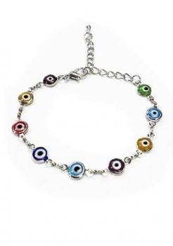 evil eye multicolor silver bracelet
