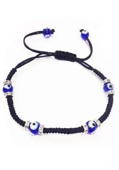 Black Rope bracelet with Blue Evil Eye glass beads, adjustable braided black rope, for men or women.