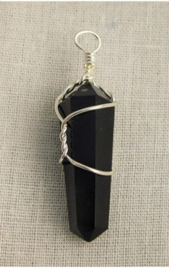 Black obsidian crystal pendant