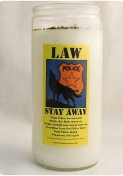 law stay away jumbo candle