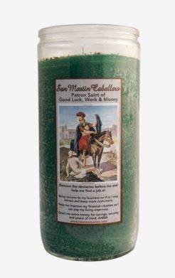 Saint Martin of Tours / San Martin Caballero Jumbo Green Candle