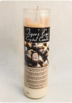 Tiger's eye crystal candle (triple strength candle)