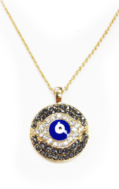 Evil Eye Pendant, black and clear embedded crystals, with chain