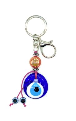 Evil eye key chain, glass eye with pink bead