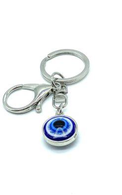 Evil eye silver key chain