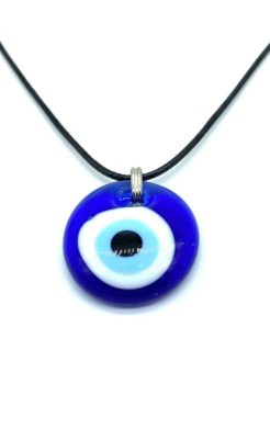 Glass Evil Eye with black leather cord necklace 20 inch cord
