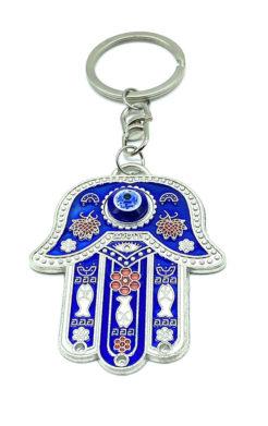 Evil eye hamsa hand blue keychain