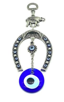 Evil eye lucky elephant & horseshoe amulet
